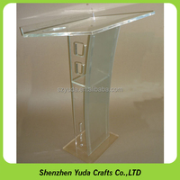 Contemporary Clear Acrylic Lectern / Podium With Shelf