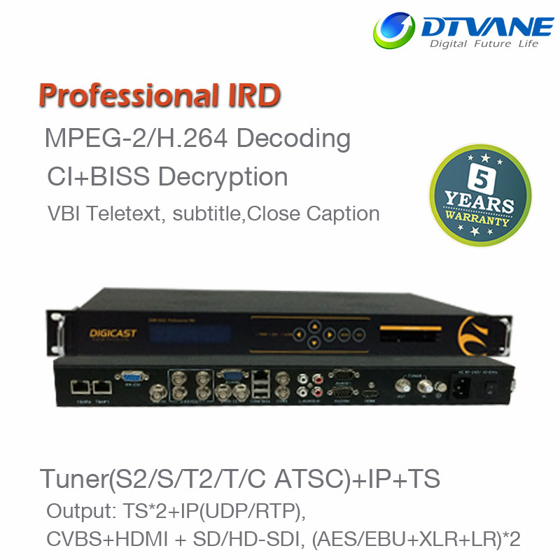 MPEG2 and MPEG4 AVC TV Provider DVB-S2 DVB-T2 receiver IRD head digital satellite receiver ip