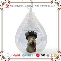 Christmas ornament open clear glass ball