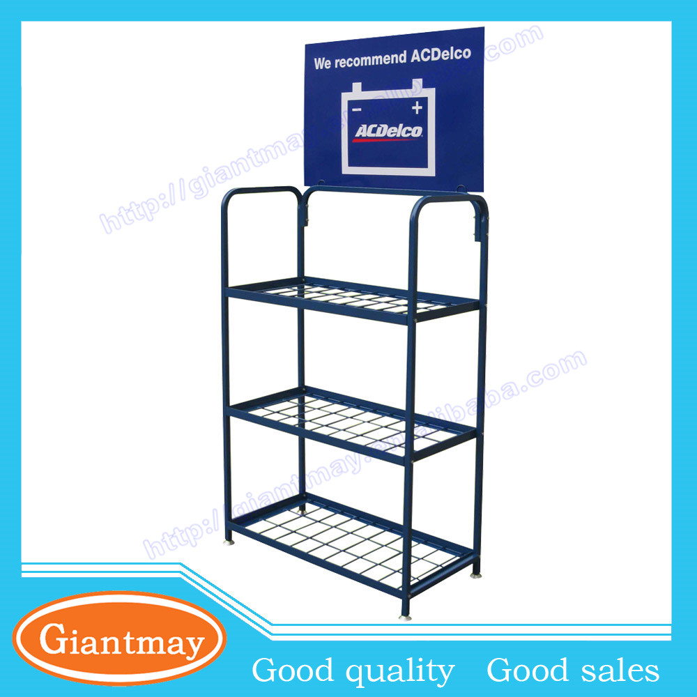 retail store car battery metal floor display stand rack for promotion