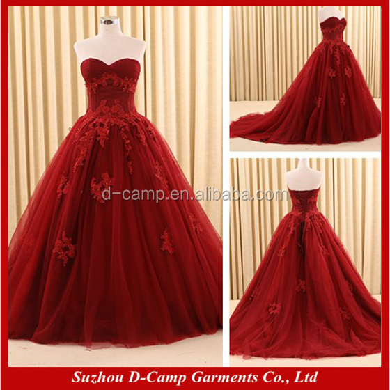 WD327 Strapless lace appliqued soft tulle burgundy color ball wedding dresses turkey princess bridal gowns wedding dresses