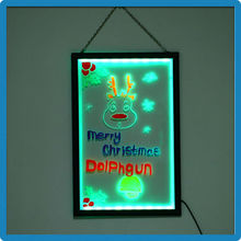 2015 Hot Selling ZD LED Writing Board Double Side Rewritable K4 Transparent Panel Magic Writing Slate Restaurant Decoration LED
