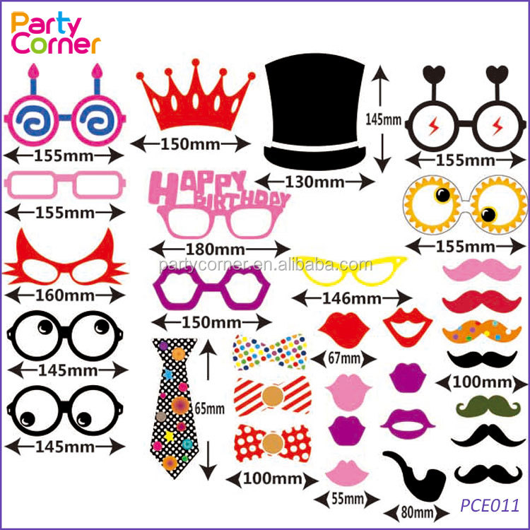 31pcs DIY Mask Photo Booth Props of Glasses&Hats on a Stick for <strong>Wedding</strong>,Halloween,Thanksgiving,Christmas,Birthday Party Favor