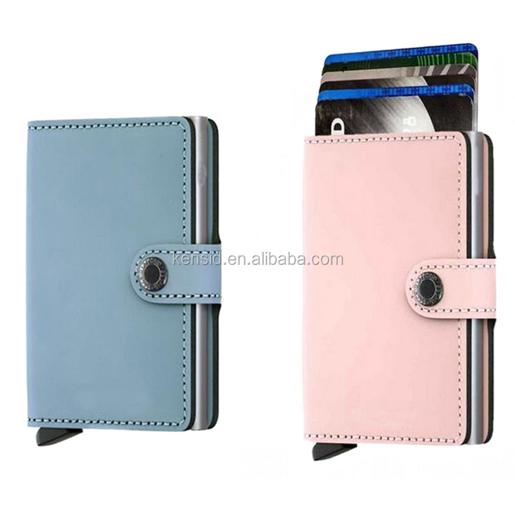 Mini Wallet, Matte Blue And Pink, Genuine Leather with RFID Protection, Holds up to 12 Cards