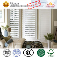 Competitive Price of Customised Stained with Real Wood Plantation Shutters Home Depot