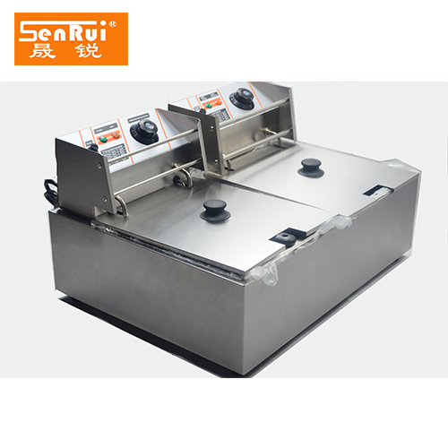 commercial Double tank 8 Liters indicator chicken leg fish potato chips Electric deep fryer