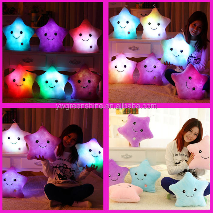 2016 Factory Wholesale Best Birthday Present Glowing Colorful Luminous Star Shape LED Light Pillow,Night Light Up Plush Pillow
