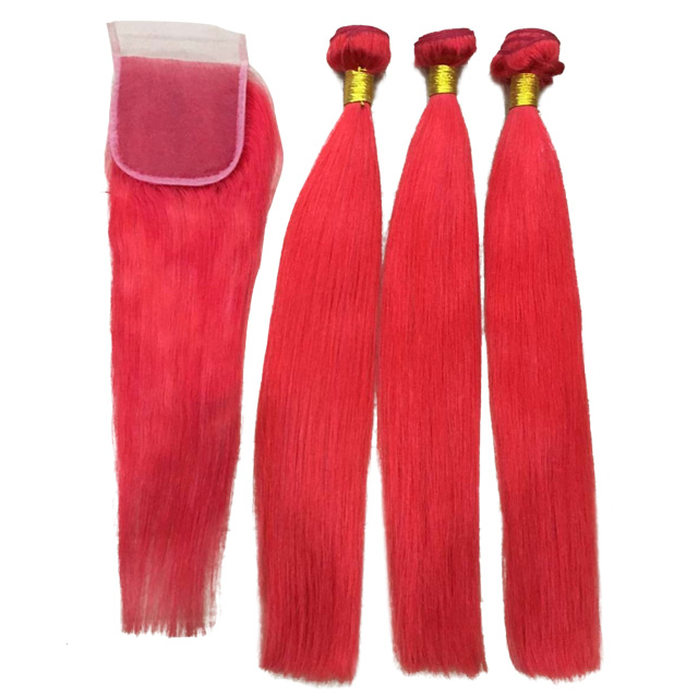 Befa Hair Brazilian Red Human Hair Straight Body wave Sew In Weave Cheapest Products Online