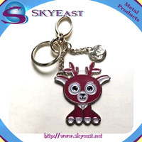 Cute Design Colorful Enamel Charms and Hook with Metal Keychains
