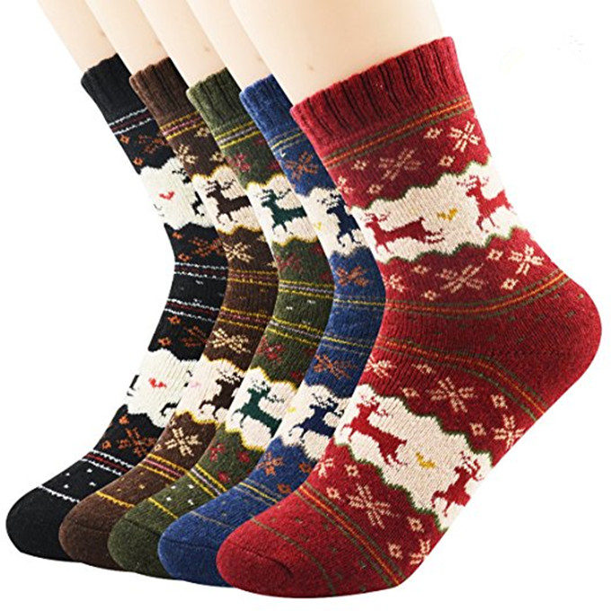Wholesale Custom Winter Warm Long Cotton Christmas Cozy Socks Men Reindeer Socks
