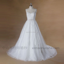 XY-649 Glitter sequin lace ivory wedding dress bridal gown with beaded belt