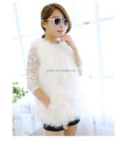 Medium-long New Fashionable Cheap Price Angel White Color Real Turkey Feather Ladies Fur Vest