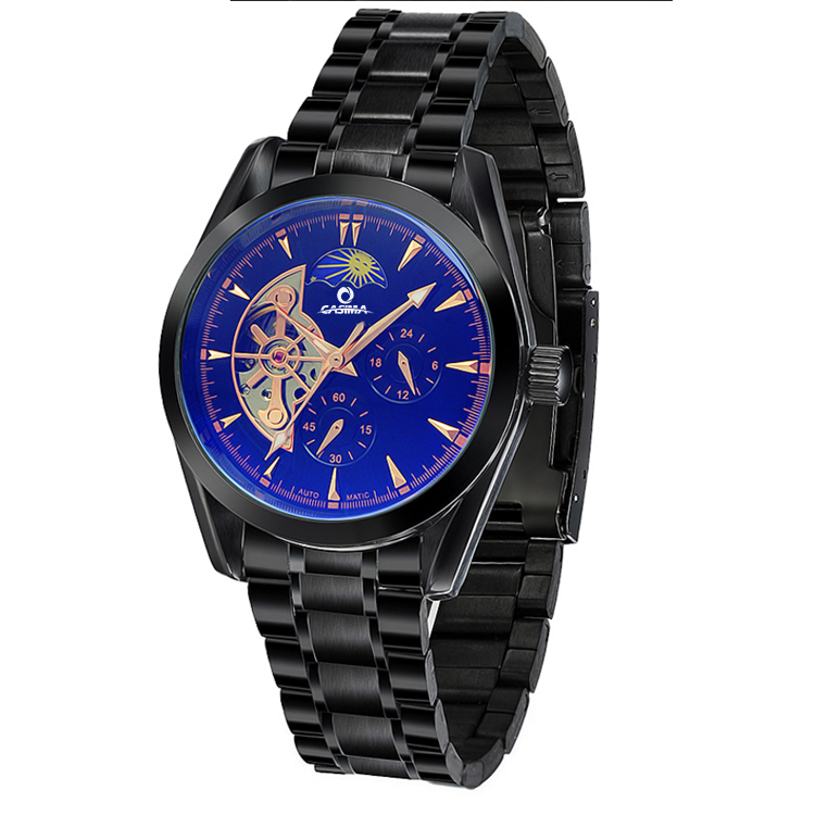 Cheap factory price chronograph promotion hollow mechanical skeleton watch