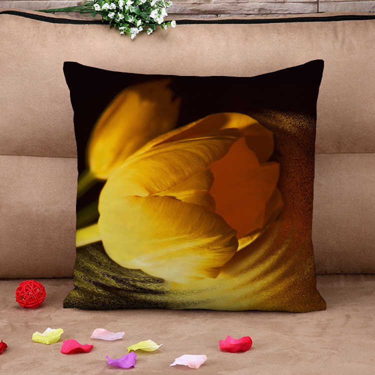 Beautiful Golden Tulip HD 3d Bed or Throw Cushion