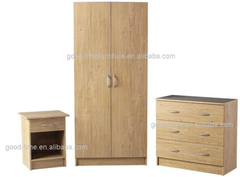 3 Piece Bedroom Furniture Set Wardrobe, Chest of Draws and Bedside Table