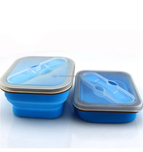 High Quality silicone leakproof bento lunch box collapsible leakproof bento lunch box
