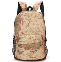 2015 trending new products retro printing map Leisure Outdoor Backpack Wholesale