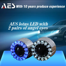 Newest LED Lighting Motorcycle Headlight HID Bixenon Projector Lens Light with LED halo rings for motorcycle part