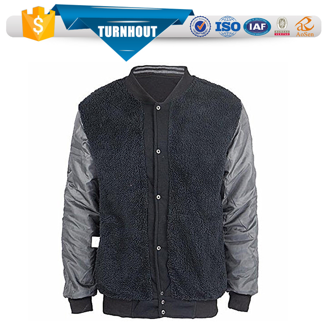Plus size big design men baseball button rib warm winter wears hoodies jacket