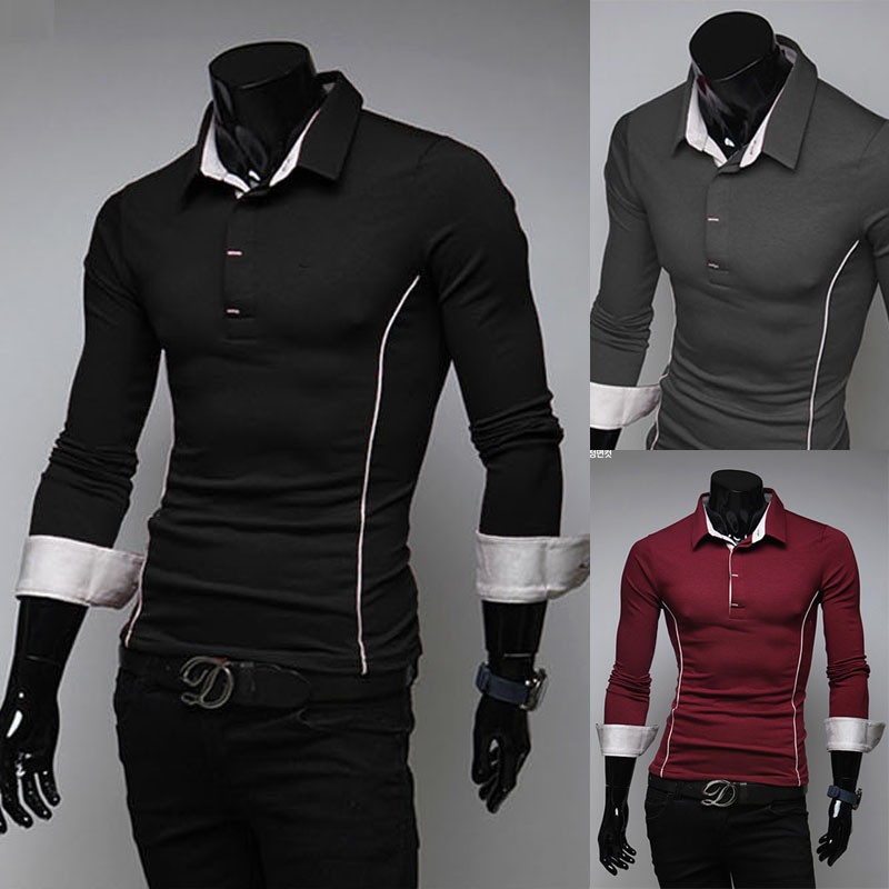 The new spring and autumn outfit lapel long sleeve T-shirt men's cultivate one's morality personality