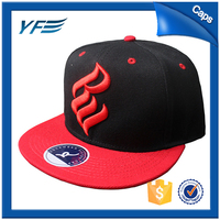 high quality wholesale cotton leather patch 6 panel flat brim print custom snapback cap and hat, plastic cap for man/woman