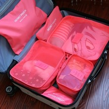 6pcs Set Portable Nylon Travel Hanging Clothes Luggage Storage Underwear Organizer Storage Bags