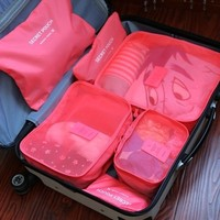 6pcs/Set Portable Nylon Travel Luggage Clothes Underwear Organizer Storage Bag