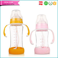 High capacity straight glass feeding bottle for baby