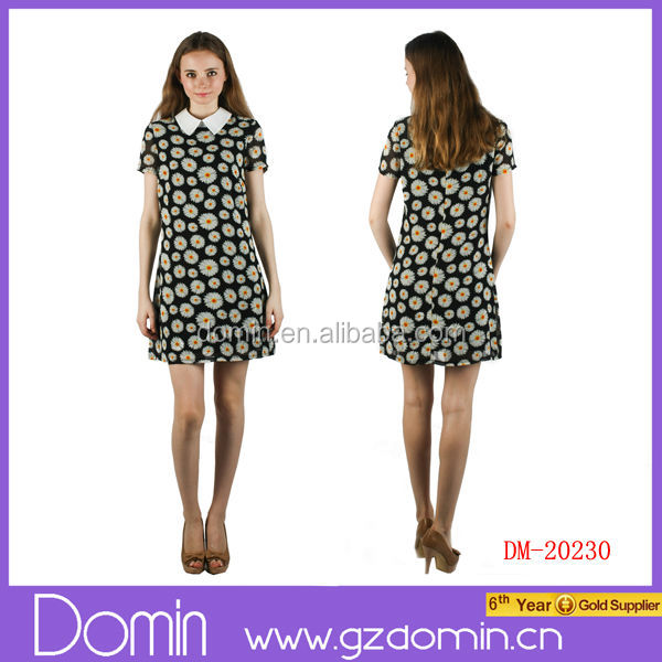 2014 New Fashion Ladies Floral Printed Chiffon Dress Women Clothing