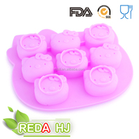 Various kinds of hello kitty shape silicone cake mold in cooking pan