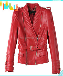 the newest design red genuine sheepskin leather jacket for women