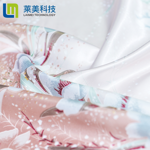 Customized Colorful Floral Printed 100% Polyester Breathable Satin Fabric