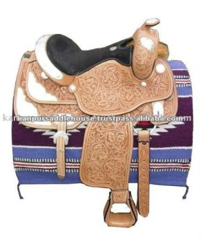 leather black hand carved western saddle