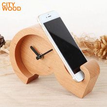 question mark desktop table wood time clock with phone stand holder