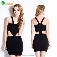 OEM Apparel factory black eco-friendly breathable halter neck ladies cheap sexy bandage dress 2016