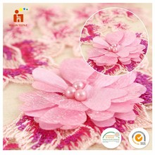 Luxury designs 3D chiffon flower colorful yarn embroidered tulle lace fabric with beads and sequins