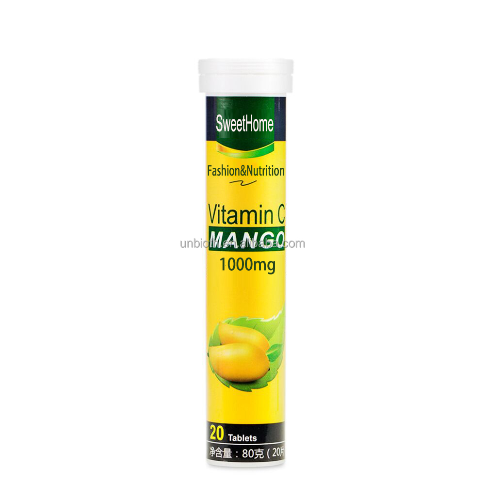 OEM High Strength Vitamin C 1000mg effervescent tablets Mango Health food Powerful Immune Boost