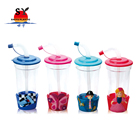 New style wholsesale 450ml animal shaped promotional colorful cartoon plastic kids drinking water cups with straw