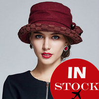China supplier all-match woman lady elegant lace flower knit wool viscose knitting hat / cap /Felt trilby