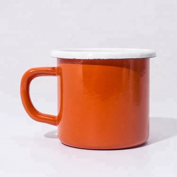 Promotional Thicken solid color enamel coffee mugs for camping