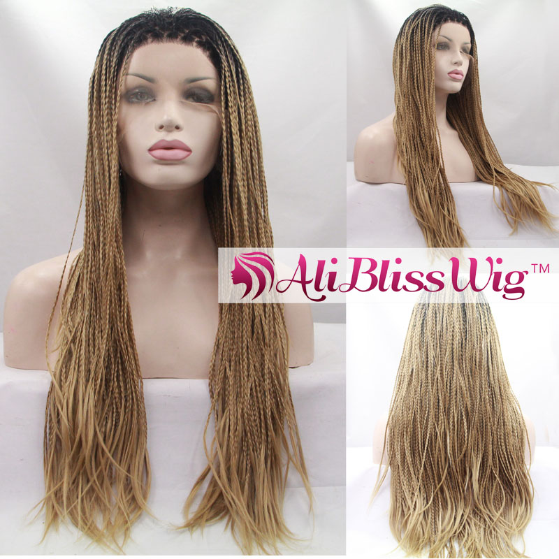 "22"" Heat Resistant Fiber Hair Dark Roots Two Tone Ombre Blonde Fully Handed Braid Synthetic Lace Front Wig for African American"