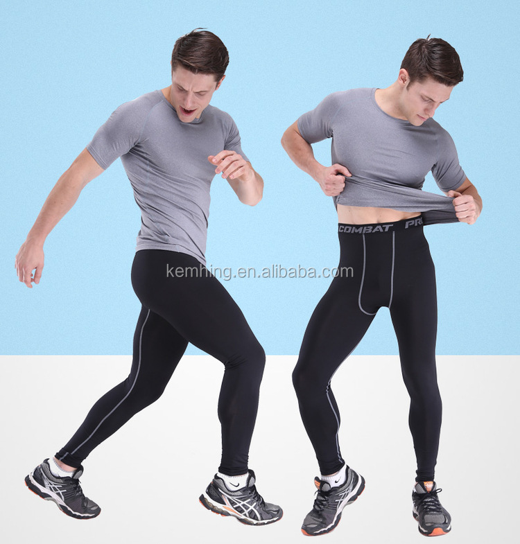 Pro Men Bodybuilding sports Tights pants Training Fitness GYM Compression Pants men