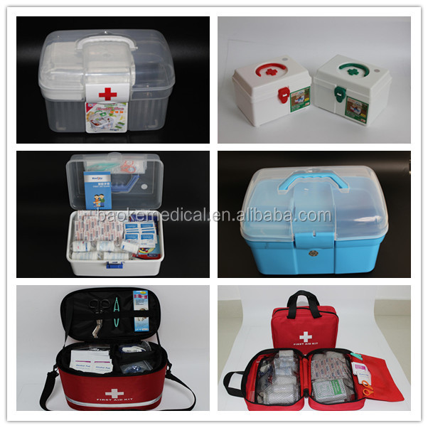 Home used green and white medical box PP first aid kit storage box with drawer and locker