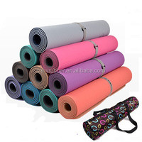 TPE high density pilates yoga mat with carrying strap and yoga mat bag