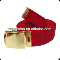 NEW red canvas web polyester leather belt