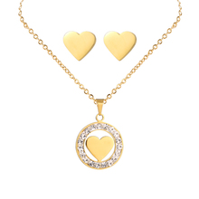 Hot Sale Charm Rose Gold Necklace Designs in 3 Grams Heart Pendant Children Necklace Sets