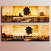 Handmade Tree oil painting landscape in yellor background