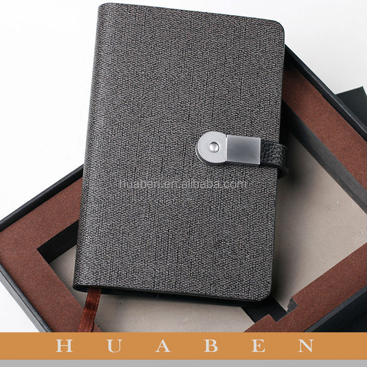 2017 custom design high quality 4 GB USB Flash Drive Journal Combo hardcover print note