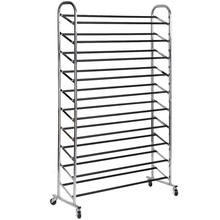 Metal frame shoe rack with anti- slip tube 50 pairs rolling shoes rack and chrome shoes tower