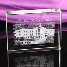 New Design Crystal Glass Cube Laser Engraved Building Model 3d Laser Engraved Glass Cube